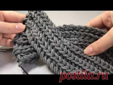 Вязаная повязка английской резинкой с перехлестом