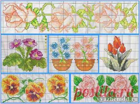 Маленькие схемы вышивки цветов