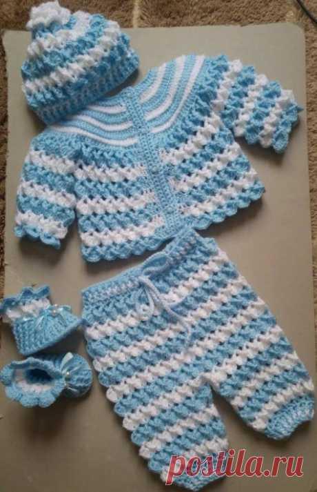 Комплект для новорождённых. из категории Мои работы – Вязаные идеи, идеи для вязания