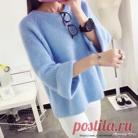 Мохеровый пуловер жемчужной резинкой - простой, модный, симпатичный