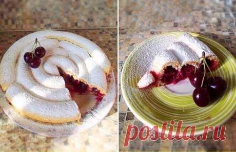 Как приготовить хитрый пирог с вишней  - рецепт, ингредиенты и фотографии