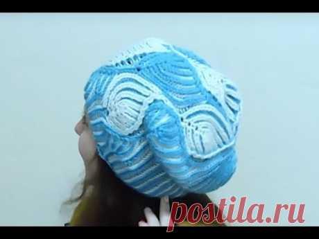 """Женская шапка """"Морозные узоры"""" Бриошь спицами. Часть 2 // Brioche Stitch // Women's hats knitting"""