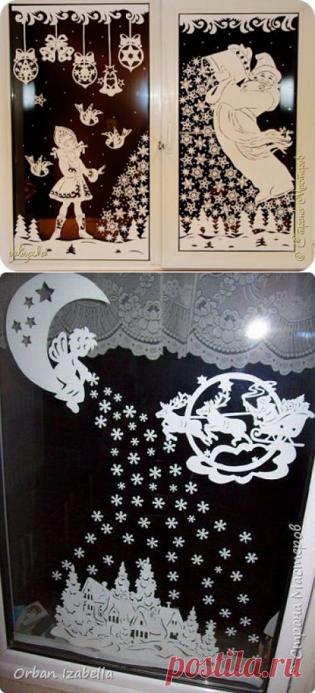 Новогодние вытынанки на окна: шаблоны вытынанки, лучшие инструменты, тонкости вырезания, идеи украшения! | Крестик