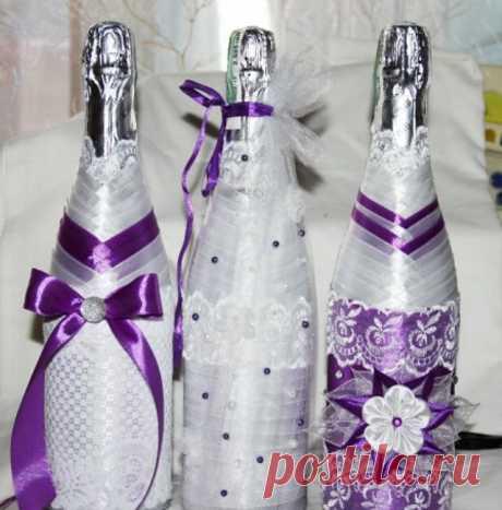 «Как оригинально украсить свадебное шампанское жених и невеста. Оформление бутылок своими руками лентами на свадьбу, в подарок. Техника украшения и мастер класс, фото идеи.» — карточка пользователя tanya.ionko в Яндекс.Коллекциях