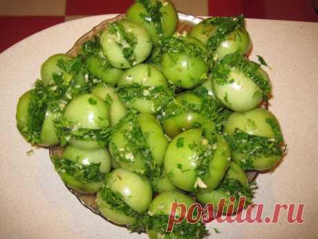 Маринованные зеленые помидоры, фаршированные хреном на зиму…Вкуснотище!!!
