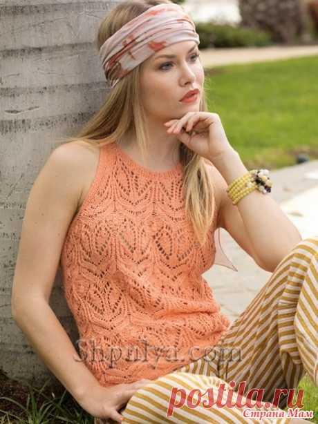 . Ажурный топ абрикосового цвета - Вязание - Страна Мам