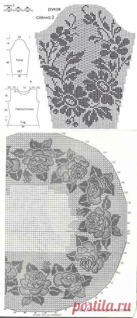 Красивое платье в филейной технике. Схемы