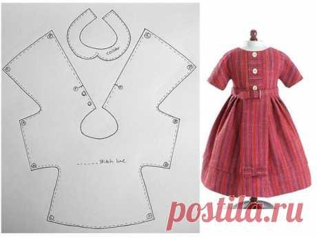El patrón simple y universal del vestido para las muñecas y los juguetes