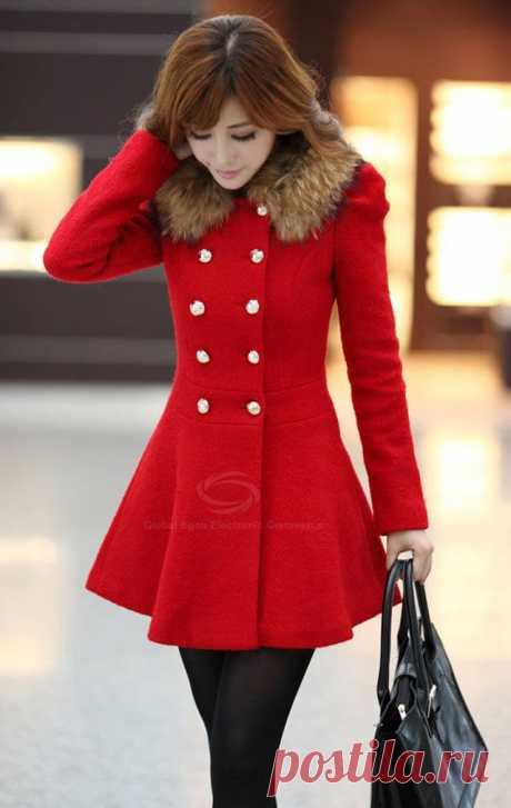 Slim Fit шею двубортные пальто для женщин (без искусственной меховой воротник) (гиацинт, S) | Sammydress.com, 676 руб.