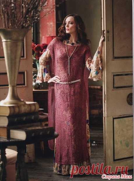 . В стиле Бохо. Филейное платье-накидка - Вязание - Страна Мам