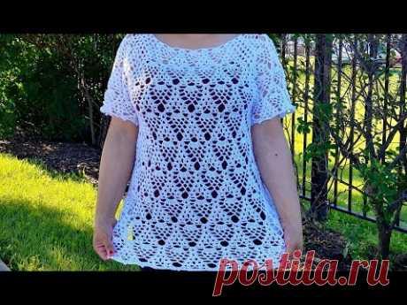 #LasMaravillasdelCrochet #ganchillo Blusa a Crochet Canesu Rectangular de Piñas (Paso a Paso)