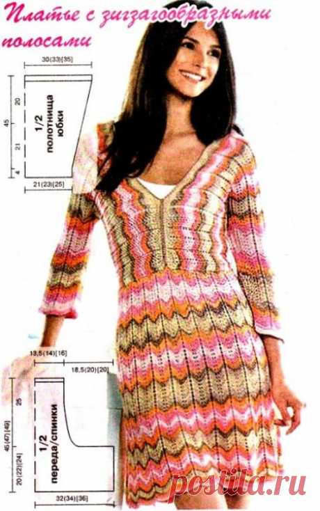 Вязание платья узором зиг-заг