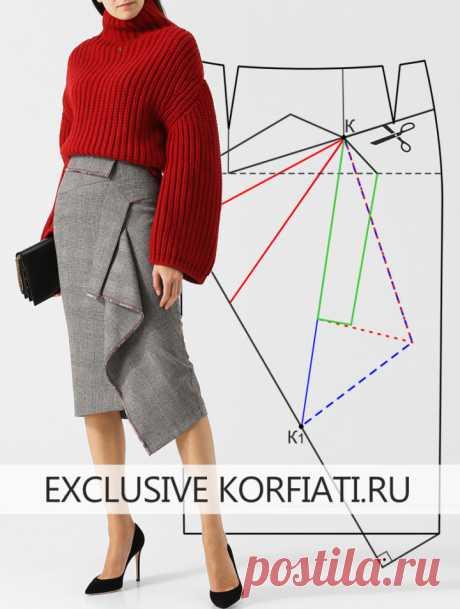 Выкройка теплой юбки на подкладке от Анастасии Корфиати