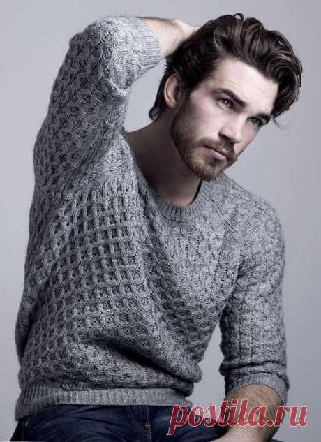 160 модных мужских свитеров вязаных спицами. | Raznoblog - сайт для женщин и мужчин