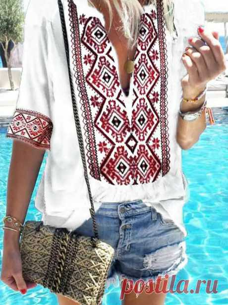 Ethnic Style Floral Print V-neck Short Sleeve Casual Blouse - US$26.99