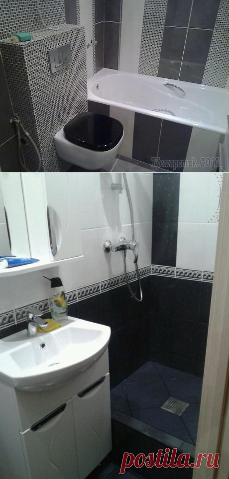 Беспроигрышные тона черно-белой ванной комнаты