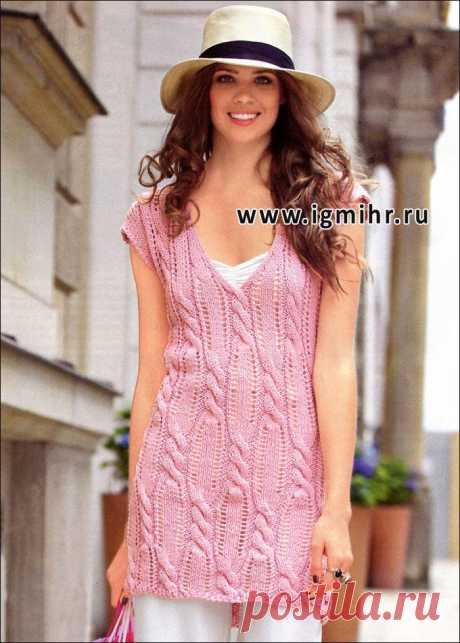 Модная розовая туника с косами. Спицы.