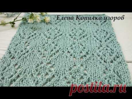 Ажурный узор спицами цветок схема и описание/Openwork pattern with knitting needles flower scheme