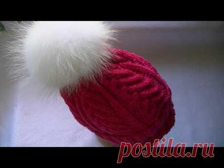 Вяжем шапку с косами