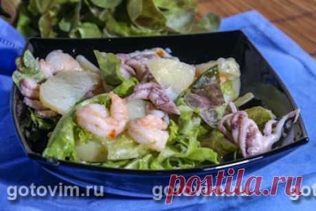 Картофельный салат с морепродуктами. Фото-рецепт / Готовим.РУ
