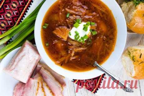 Борщ с грудинкой, салом и черносливом — Sloosh – кулинарные рецепты