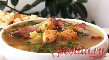 Гороховый суп на ребрышках, съедается весь до последней ложки