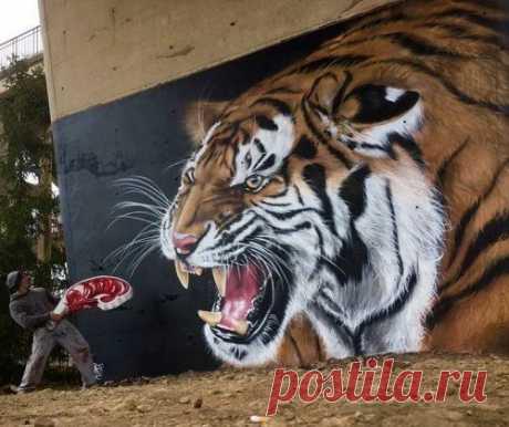Невероятные трёхмерные работы уличного художника / Я - суперпупер