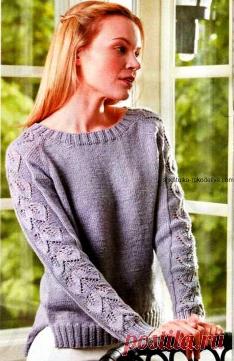 Серый пуловер Серый пуловер спицами. Пуловер с ажурными рукавами для женщин спицами 2019