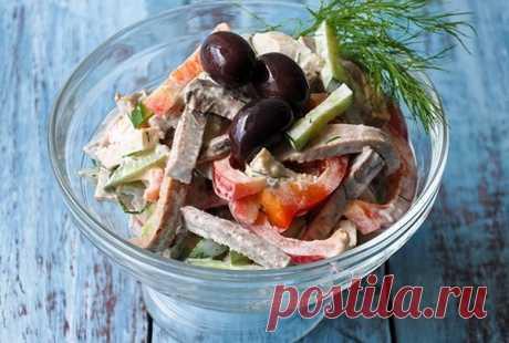 Салат с говяжьим языком и болгарским перцем   Вкусняшка