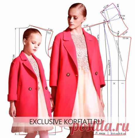 Выкройка укороченного пальто для мамы и дочки от А. Корфиати