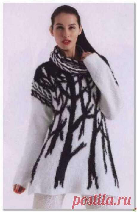 Вяжем спицами тёплый пуловер с необычным, жаккардовым узором.