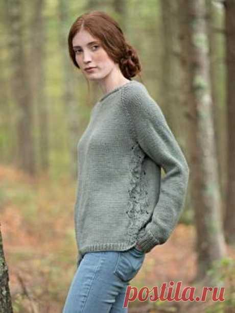 Пуловер фонтан Простая в исполнении модель женского пуловера с рукавом реглан, связанного из смесовой пряжи на спицах 5 мм. Вязание всех деталей...