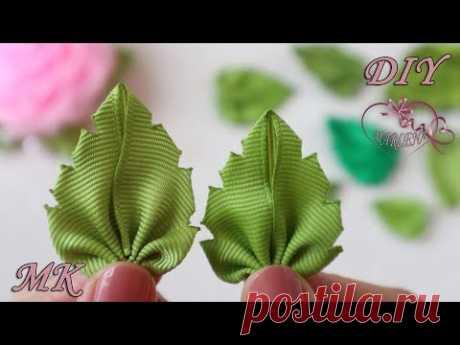 Зеленые листики для цветов из лент. Мастер-класс для начинающих