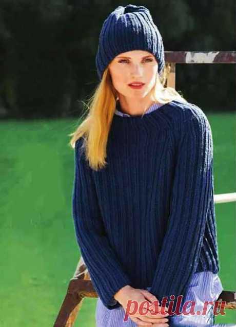 Женский пуловер патентным узором с шапкой из шерсти спицами – описание вязания