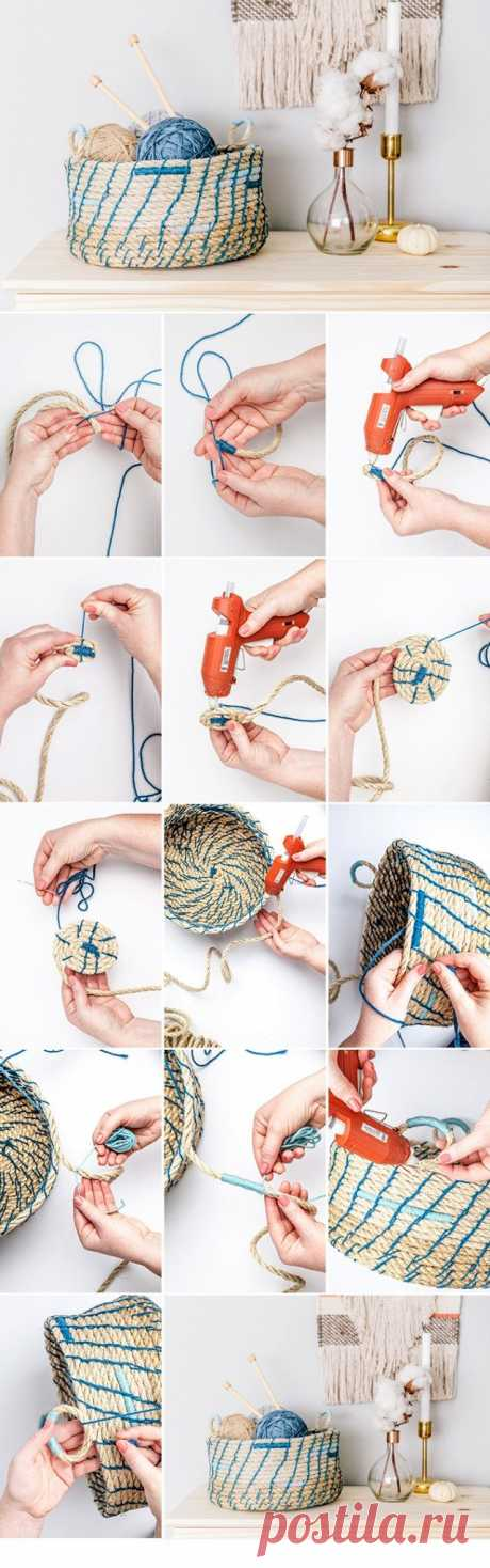Корзина из веревки своими руками | Фото