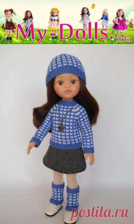 Как связать шапку и гетры для куклы спицам.  Мастер-класс от Ольги Портновой.