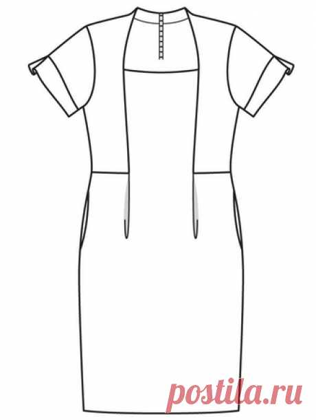 Узорчатое платье-футляр - выкройка № 415 из журнала 1/2018 Burda. Мода для полных – выкройки платьев на Burdastyle.ru