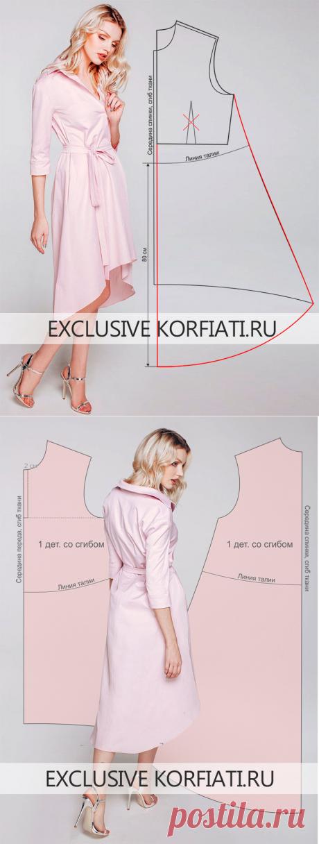 Выкройка платья с асимметричным подолом от Анастасии Корфиати