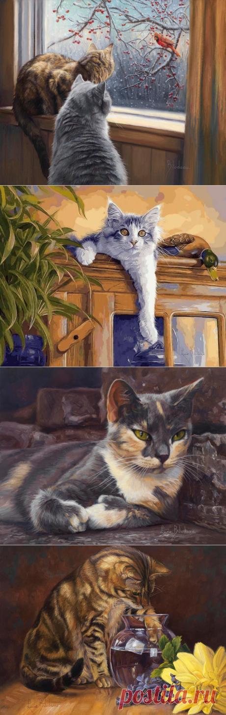 Кошки канадской художницы Lucie Bilodeau