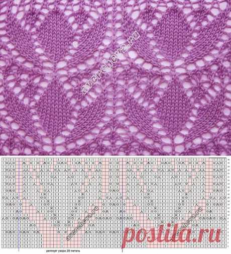 узор 314 ажурные лилии | каталог вязаных спицами узоров