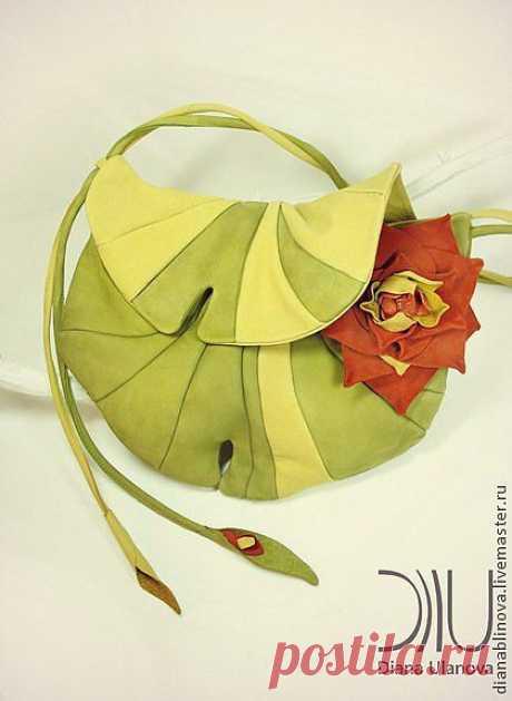 """Сумка кожаная """"Кувшинка"""" - салатовый,Кожаная сумка,подарок женщине,женская сумка"""