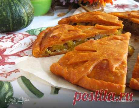 Пирог с мясом и тыквой на томатном тесте. Ингредиенты: растительное масло, томатный сок, разрыхлитель