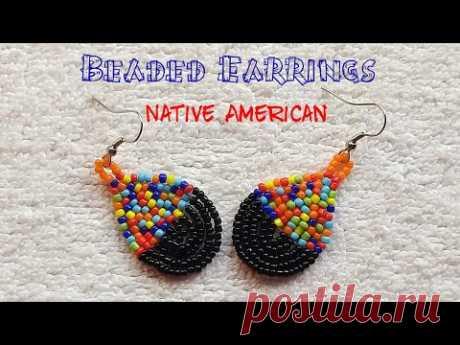 🎊 Native American Earrings 🎊 Multicolour seed bead (0096)