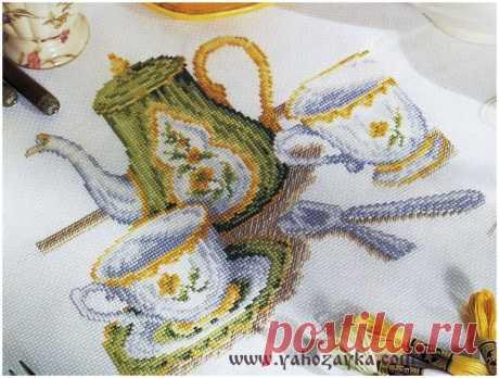 Embroidery cross tea service. Tea cups embroidery scheme cross