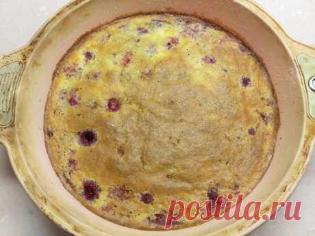 Клафутти с малиной - заливной пирог на молоке