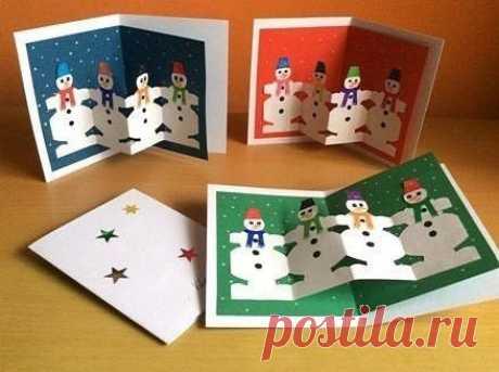 Новогодняя открытка с вкладышем-хороводом снеговиков — Поделки с детьми