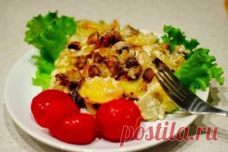 Как приготовить картофель с шампиньонами в сметане. - рецепт, ингридиенты и фотографии