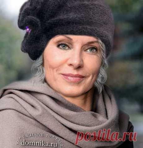 Вязаные шапки и шляпки спицами для женщин 60 лет описание бесплатно