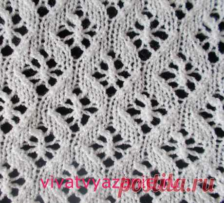 Small openwork rhombuses: the scheme of a pattern for knitting by spokes the Beautiful pattern spokes representing small openwork rhombuses. Well looks as in itself, and as finishing on a front smooth surface. Scheme of a pattern.