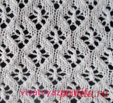 Мелкие ажурные ромбы: схема узора для вязания спицами Красивый узор спицами, представляющий собой мелкие ажурные ромбы. Хорошо смотрится как сам по себе, так и в качестве отделки на лицевой глади. Схема узора.